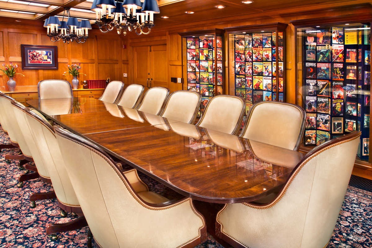 The board room serves to meet with publishers, distributors and entertainment industry professionals fromaround the world. In addition to original L. Ron Hubbard fiction and aviation magazine cover art displays, the poster for