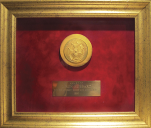 Gold Medal—Academy of Arts, Sciences & Letters, Paris, France: Presented to L. Ron Hubbard for the complete body of his literary works and achievements.