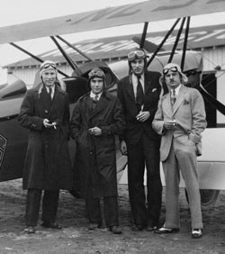 L. Ron Hubbard, left, at Congressional Airport, Washington, DC, 1931, with members of George Washington University flying club.