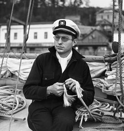 Capt. L. Ron Hubbard in Ketchikan, Alaska, 1940, on his Alaskan Radio Experimental Expedition, the first of three voyages conducted under the Explorers Club Flag.